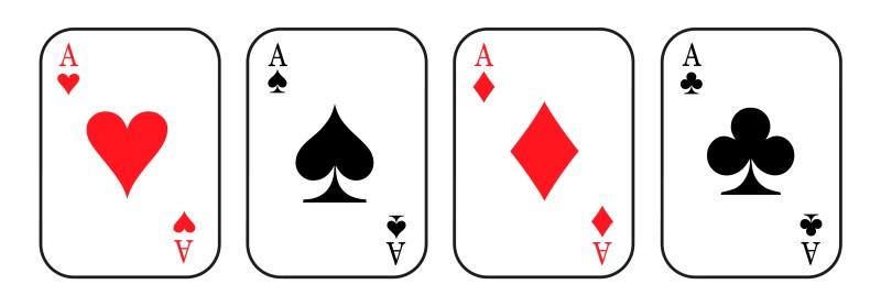 Trümpfe. Kartenspiel. Asse. Ace. Pic, Herz, Karo, Kreuz. Schnupfen oder Corona