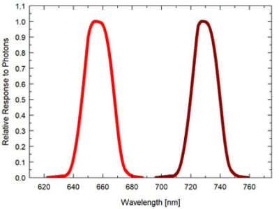 Graph showing the spectral response of the red - far-red sensor (spectral range of 645 to 665 nm ± 5 nm (red) and 720 to 740 nm ± 5 nm (far-red)).