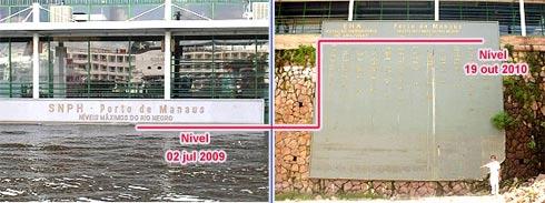 Fotos  comparativas mostram dois momentos da vazante do Rio Negro
