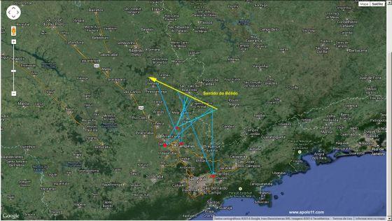Mapa da pasagem do meteoro sobre São Paulo e Minas Gerais