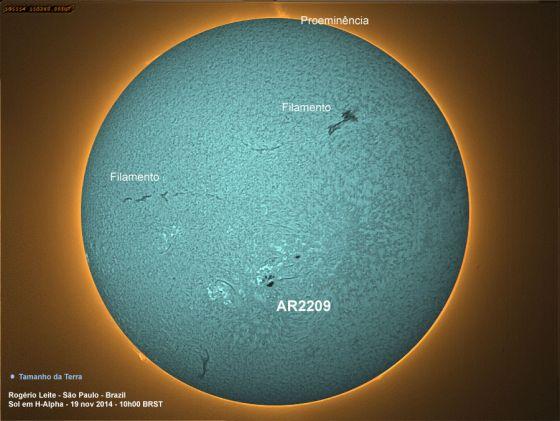 Mancha Solar AR2209 los H-alfa