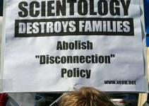 Protest sign against Scientology disconnection policy