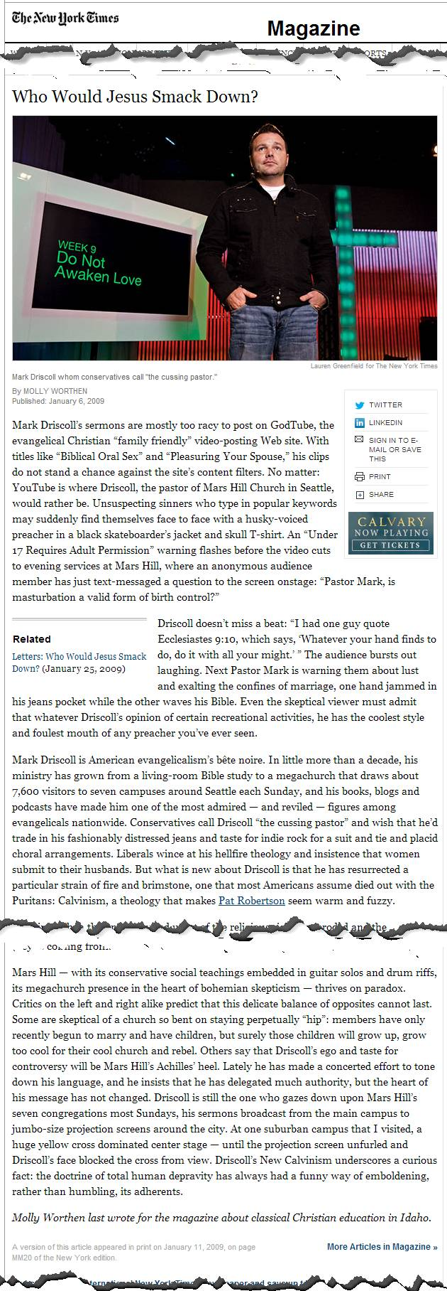 Screenshot of New York Times article about Mark Driscoll