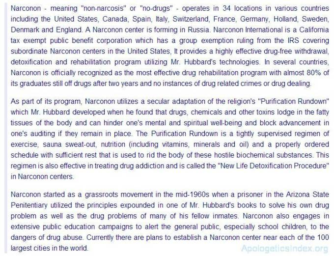 Scientology Church description of Narconon