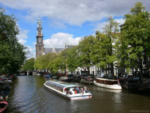The Westerkerk in Amsterdam as seen from the Prinsengracht