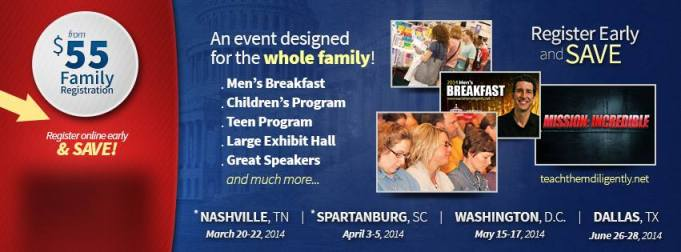 Join Me at Teach Them Diligently in Spartanburg, SC April 3-5, 2014!
