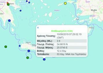 Σεισμός 3,9 Ρίχτερ νότια του Τυμπακίου