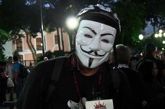Anonymous se hizo presente en este acto solidario con los hermanos palestinos