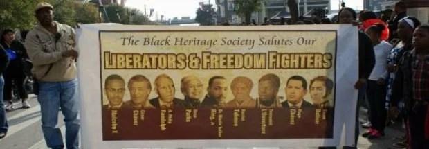 Chávez al lado de Rosa Parks, Louverture como libertadores en Luther King Day, Houston
