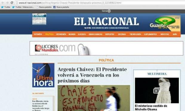 """Foto del portal web del diario """"El Nacional"""""""