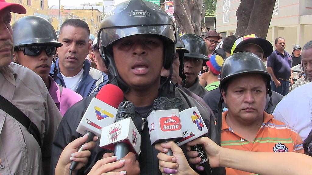 Wladimir Garcia de los motorizados de Baruta en la rueda de prensa en San Agustín del Sur
