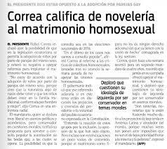 Diario Hoy de Ecuador distorsiona declaraciones del Presidente Correa sobre las parejas homosexuales