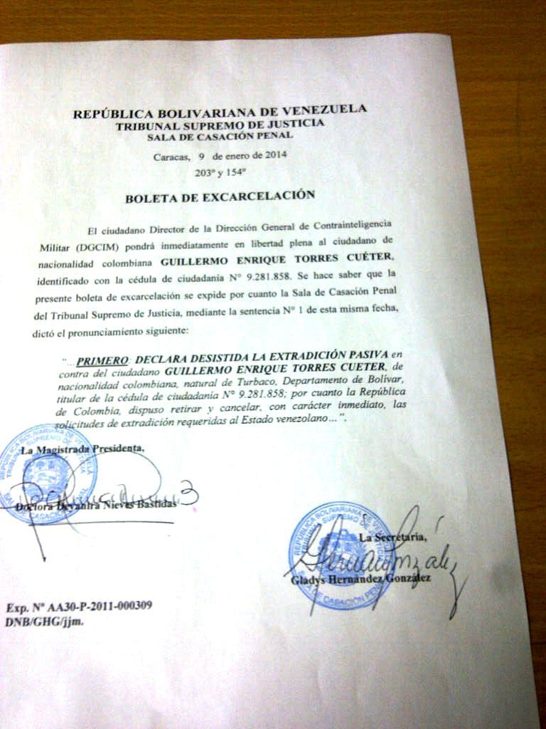 Boleta de Excarcelación expedida por la Sala de casación Penal del TSJ de la República Bolivariana de Venezuela