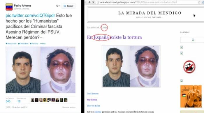 """Tuitero opositor divulga foto de supuesto estudiante venezolano golpeado por """"fascistas asesinos"""" del PSUV. Derecha: La foto corresponde a Unai Romano, joven retenido, golpeado y torturado en 2005 por la policía española."""