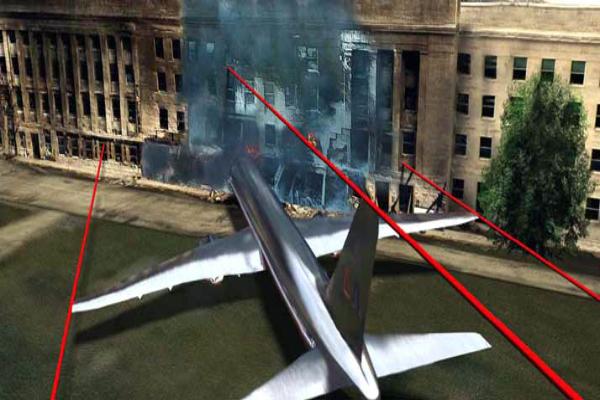 El Boeing chocó contra la fachada del edificio a la altura de la planta baja y la primera planta. Todo sin dañar el magnífico césped en primer plano, ni el muro, ni el estacionamiento, ni el helipuerto. En efecto, en ese lugar hay una área de aterrizaje para pequeños helicópteros. A pesar de su peso (un centenar de toneladas) y de su velocidad (entre 400 y 700 kilómetros/hora), el avión sólo destruyó el primer anillo de la construcción.