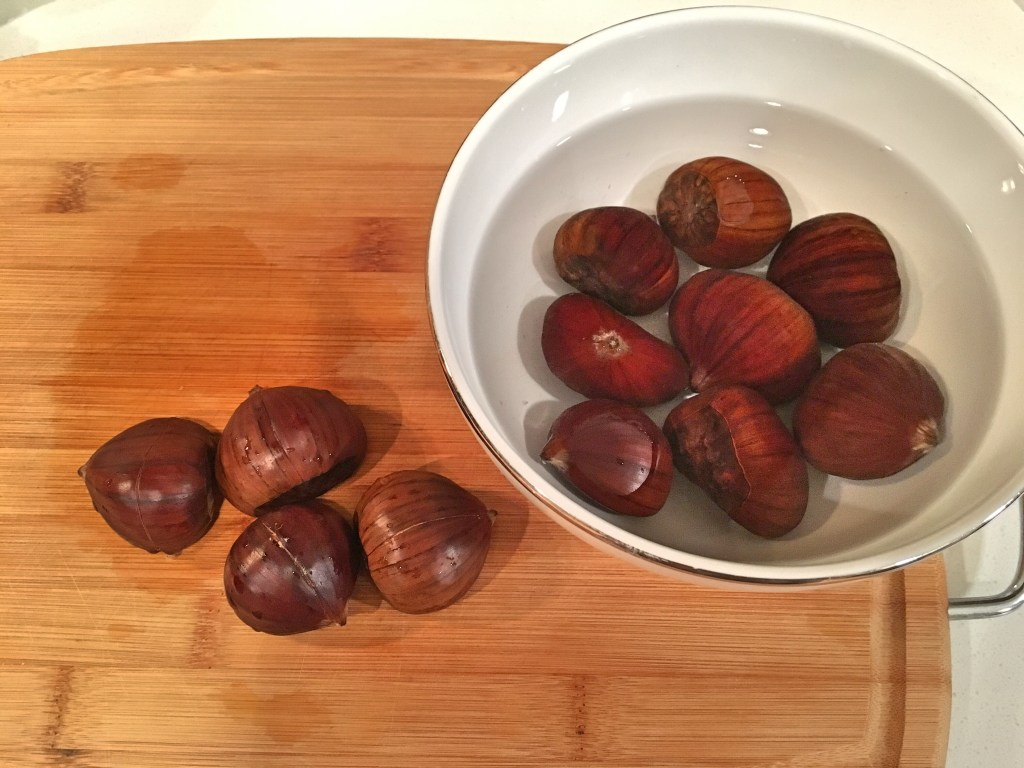 Prepping the chestnuts