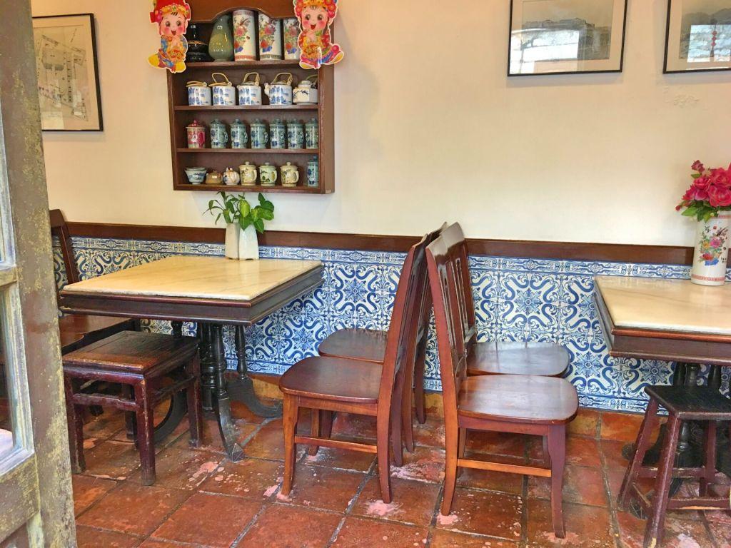 Azulejos inside a restaurant in Macau