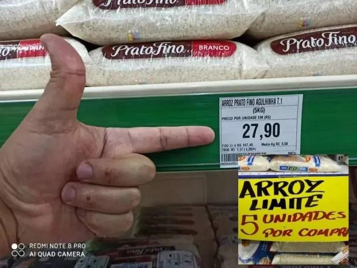 Supermercados racionam venda de arroz no interior de São Paulo.