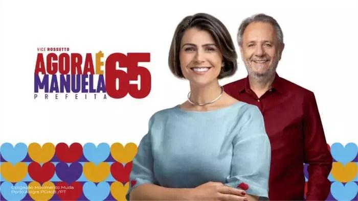Líder para a prefeitura de Porto Alegre, Manuela D'ávila amanhece como alvo do gabinete do ódio, por mudança no padrão gráfico da campanha.