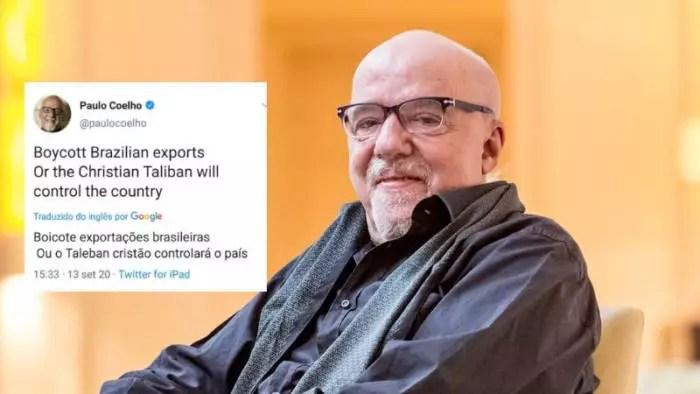 Paulo Coelho pede boicote internacional ao Brasil e fica na mira do gabinete do ódio, no Twitter.