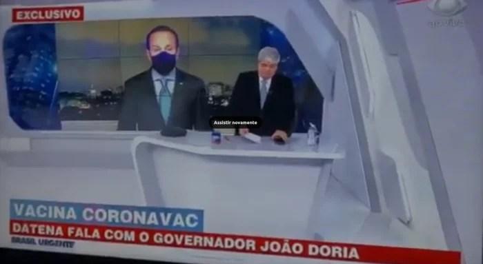 VÍDEO: Dória e Datena discutem ao vivo sobre vacina chinesa e o apresentador sai mal ao tentar defender ideias bolsonaristas.
