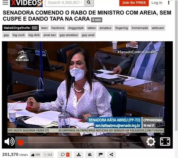 "Internautas sugerem que vídeo de Katia Abreu ""comendo o r***"" de ex-ministro na CPI esteja no XVideos."