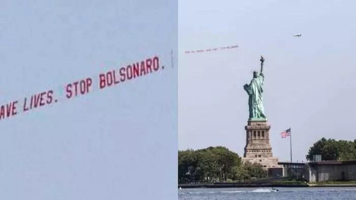 """Fotos: Em Nova York, avião passeia com """"Stop Bolsonaro"""", em nome da Amazônia."""