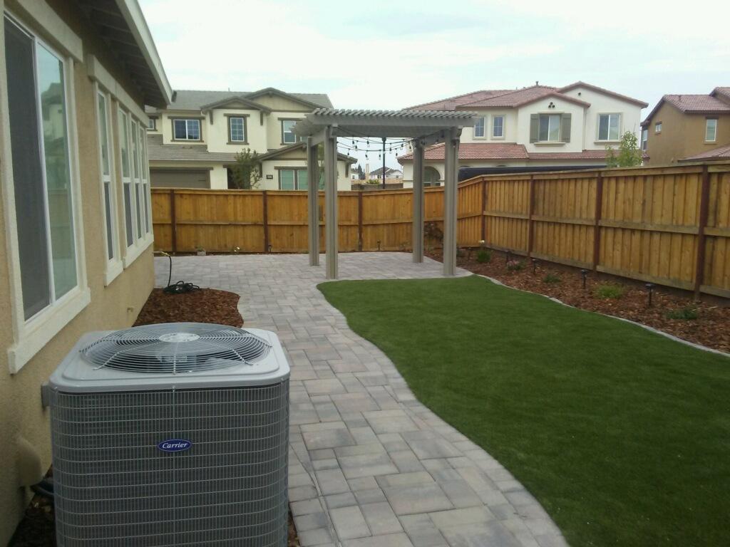 Paver Patio, Paver Walkway, Artificial Grass | Apostle ... on Backyard Pavers And Grass Ideas id=60320