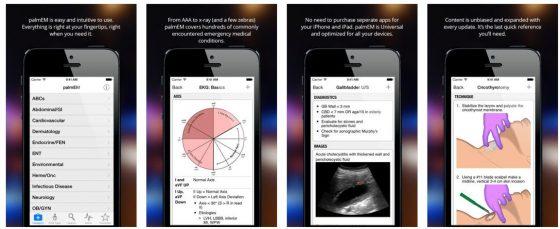 Grafisch schlicht, aber mit Infos und Abbildungen reich, präsentiert sich die medizinische Notfall-App palmEM