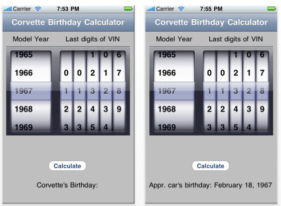 Screenshot Corvette Birthday Calculator