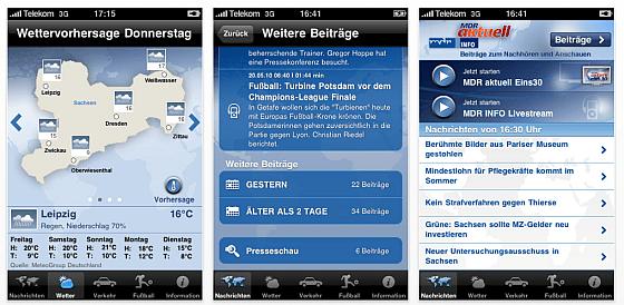 Screenshots MDR Nachrichten App für das iPhone