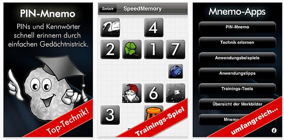 Screenshot PIN Mnemo App für iPhone und iPod Touch