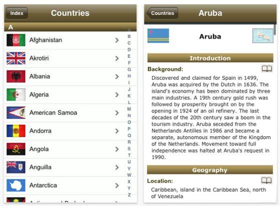 Screenshot World Factbook 2010