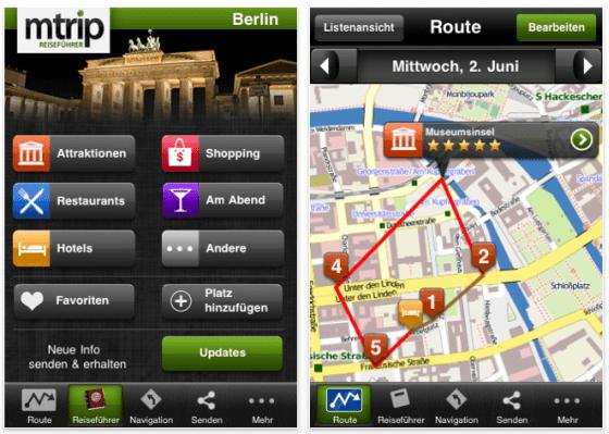 Screenshot Berlin Reiseführer von mTrip