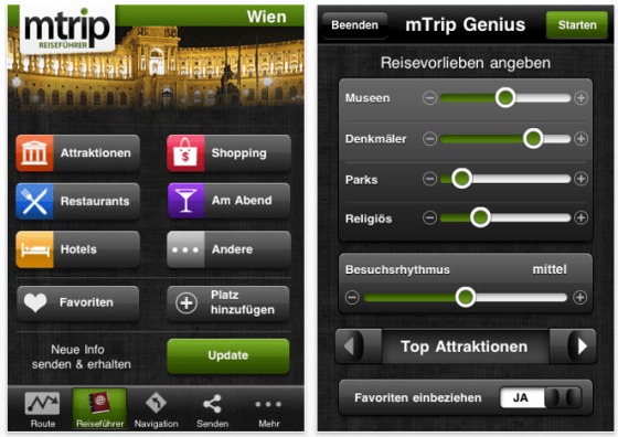 Screenshot mTrip Reiseführer Wien