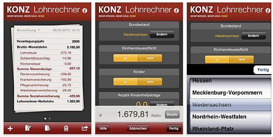 Lohnrechner von Konz für iPhone und iPod Touch Screenshot