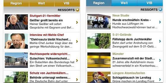 Screenshots App Stuttgarter Zeitung und Stuttgarter Nachrichten