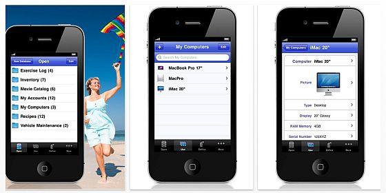 iDatabase für iPhone und iPod Touch Screenshots