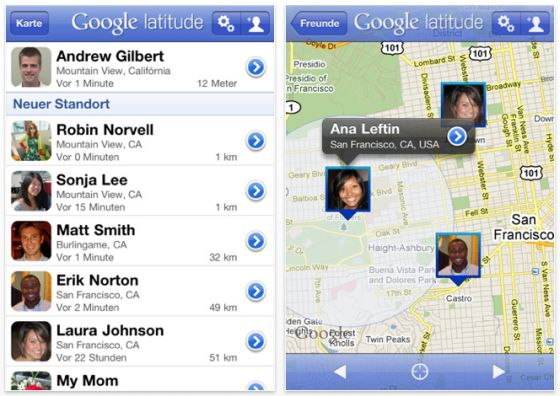 Google Latitude SCreenshot iPhone App