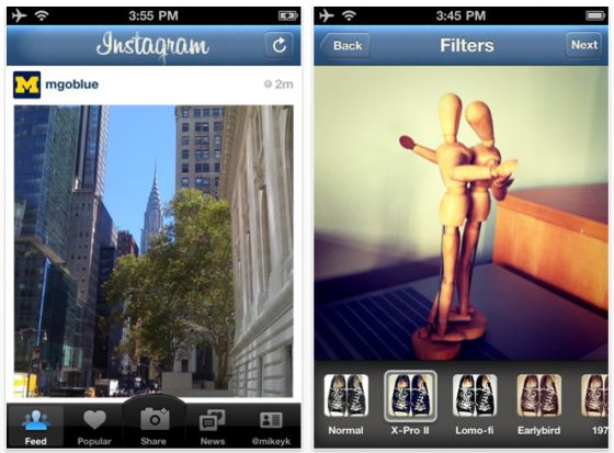 Instagram iPhone-Foto-App Screenshot