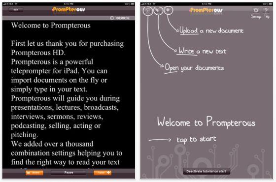 Prompterous HD - Teleprompter App für das iPad