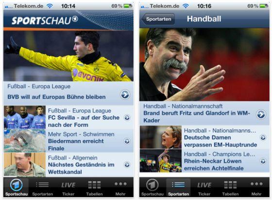 Sportschau App für iPhone und iPod Touch Screenshot
