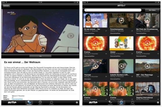 arte Univewrsal-App für iPhone, iPod Touch, iPad Screenshot