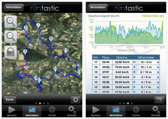 Runtastic Pro Screenshot iPhone Fitness-App