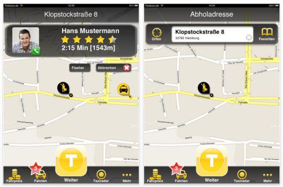 Screenshot der iPhone und iPad App MyTaxi, mit der man sich ganz einfach - und ohne anrufen zu müssen - ein Taxi ordern kann.
