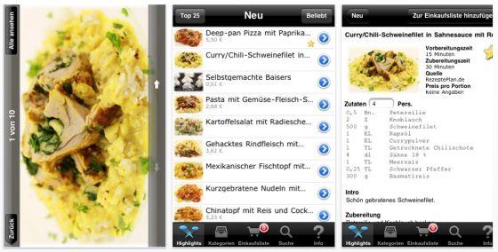 Rezepteplan.de HD Universal-App für iPhone, iPod Touch und iPad