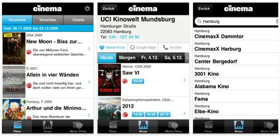 Cinema.de App Screenshots