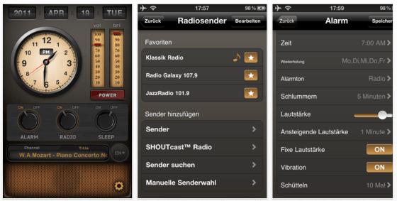 Radio-Wecker für iPhone, iPod Touch und iPad - Screenshots