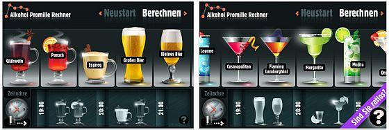 Alkohol Promille Rechner von SIMOPT für iPhone und iPod Touch Screens