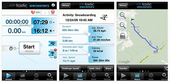 runtastic Wintersport PRO GPS Screenshots
